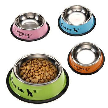Chegada nova Da Forma do Aço Inoxidável Anti-skid Cão Comida de Gato Tigela de Água Pet Ferramenta Alimentação FULI