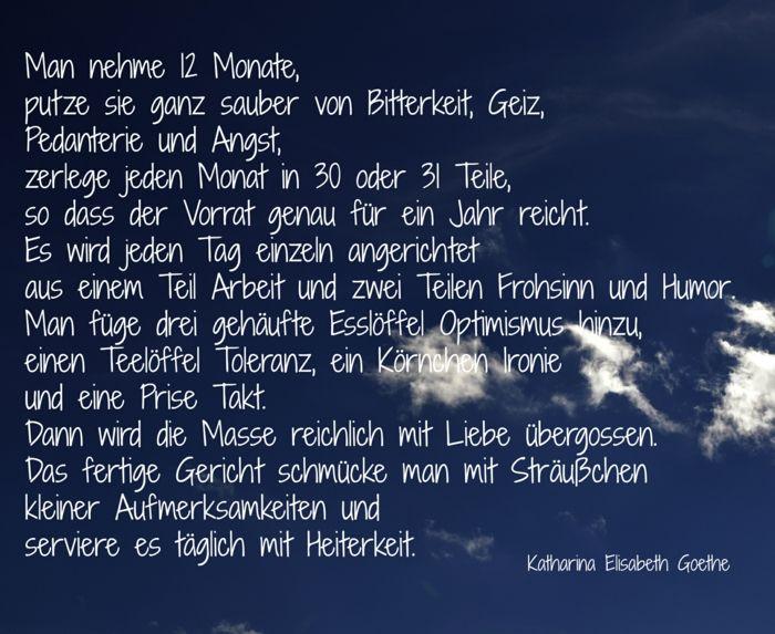 Silvester Sprüche: Rezept Für Das Neue Jahr Von Katharina Elisabeth Goethe    Man Nehme 12