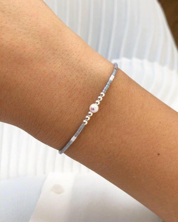 Miyuki Beads Bracelet Sterling Silver And Silk Bracelet Christmas Gift For Her Gifts For Girlfriend Bff Bracelet Gift Birthday Gift Beaded Bracelets Beaded Bracelets Diy Bff Bracelets