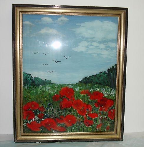 """gr.Hinterglasbild, Mohnblumen, Hinterglasmalerei, mono. """"Sommerwiese"""" 1988 - Anna Paßreiter"""