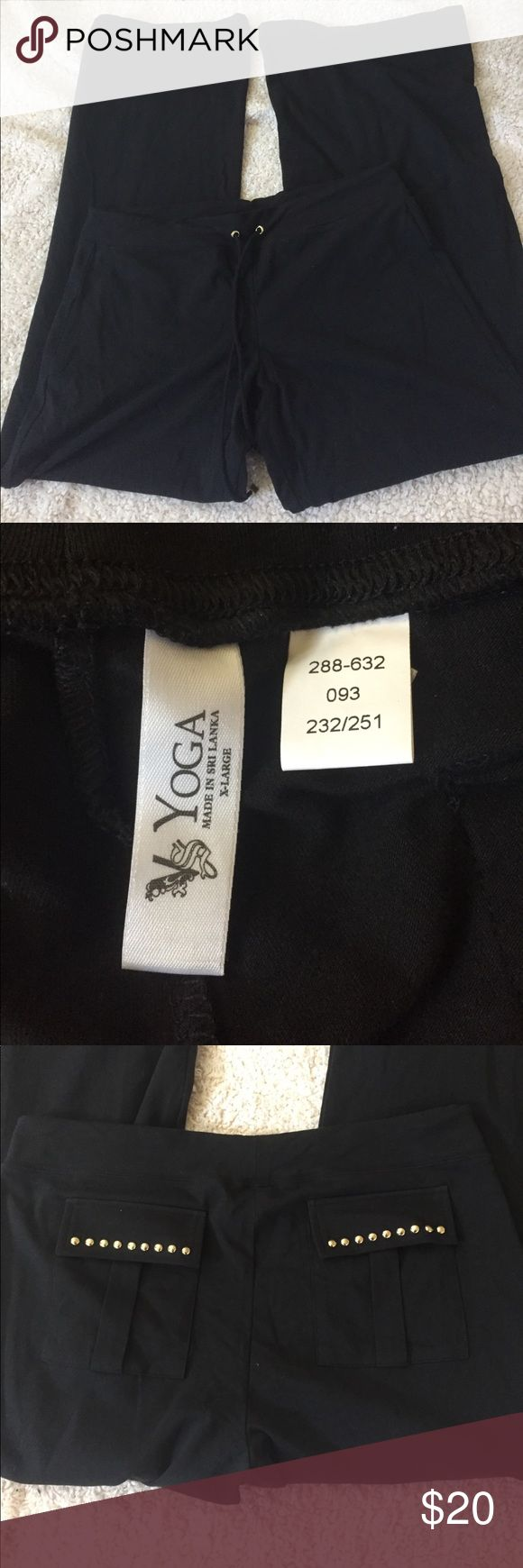 Victoria's Secret wide leg yoga pants Victoria's Secret black wide leg yoga pants. Size XL. Never worn. Cute embellished pockets in the back. Draw string waist band. Victoria's Secret Pants Wide Leg
