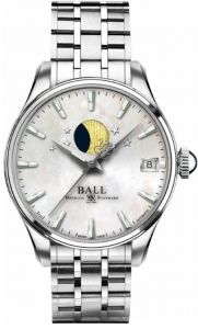 NL3082D-SJ-WH BALL Trainmaster Moon Phase Ladies Watch