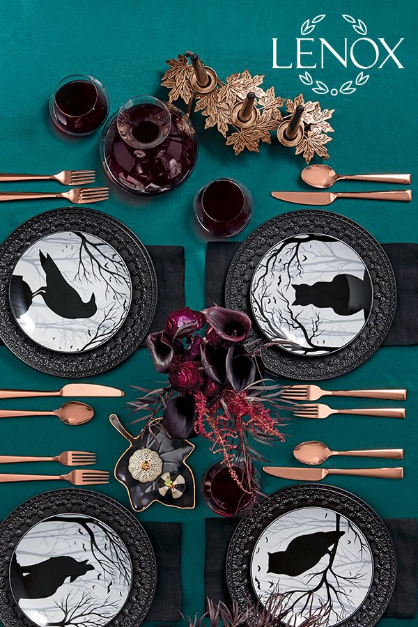Build A Dark And Mysterious Dinner Table For Halloween With Our Lenox Haunted Woods Accent Plates An Halloween Party Dinner Halloween Shopping Halloween Dishes