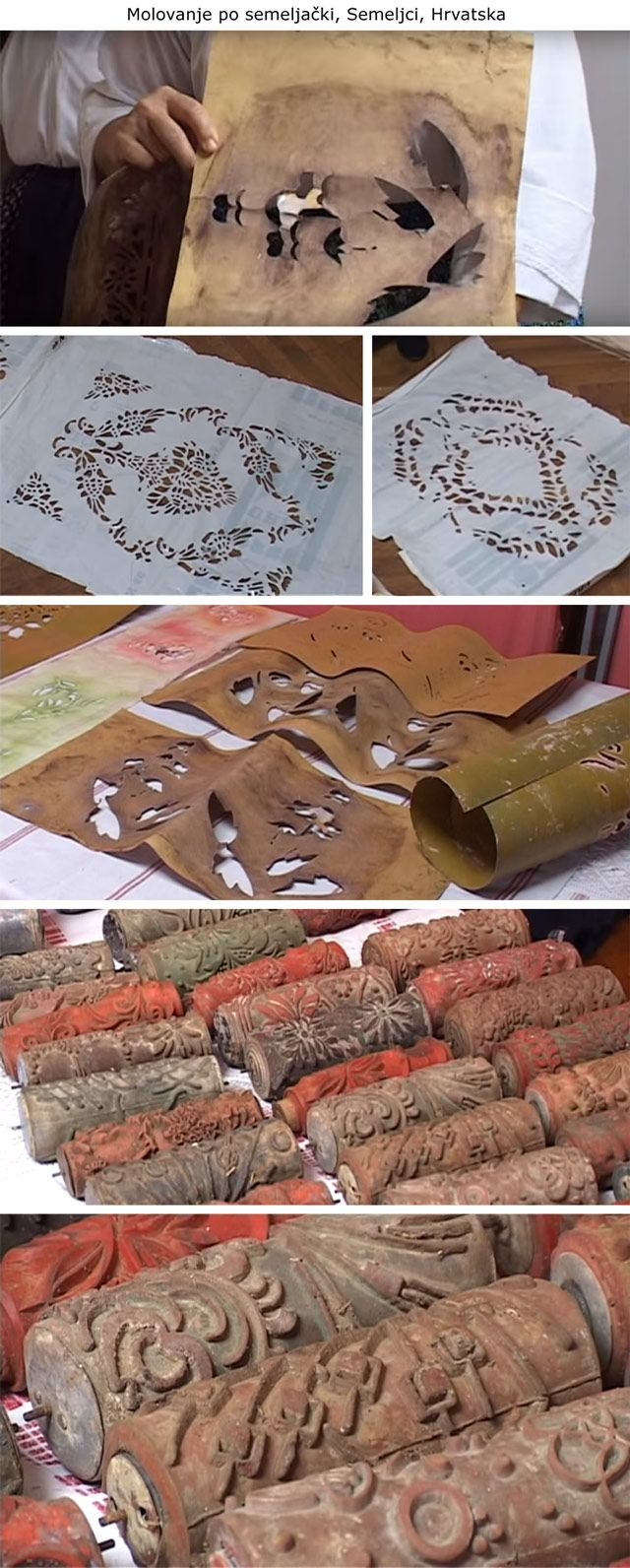 Croatian vintage patterned paint rollers and stencils ...