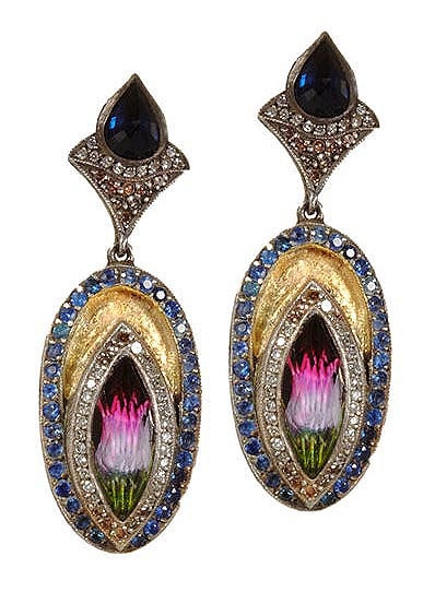 24k yellow gold and oxidized sterling silver earrings set with carved tulip within faceted amethyst stone and 0.46ct brown and white diamonds and 2.4ct blue sapphire surround.