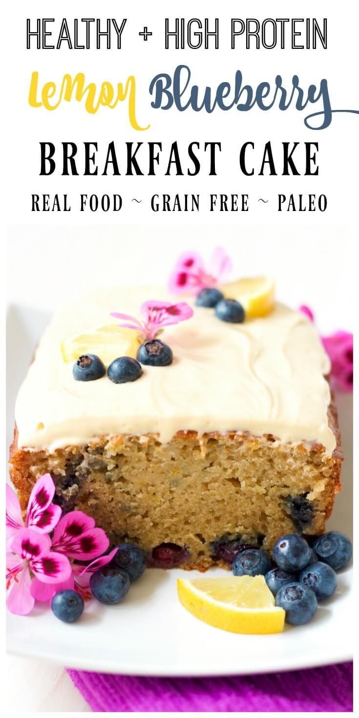 Cake for breakfast? Yes! This healthy, protein-packed, grain free, Lemon Blueberry Breakfast Cake is so delicious any time of the day. Make up a batch to have throughout the week, enjoy it for a weekend brunch, or share it with loved ones. | Recipes to Nourish via @recipes2nourish
