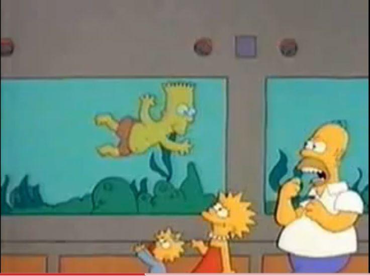 Bart swims in the shark tank.