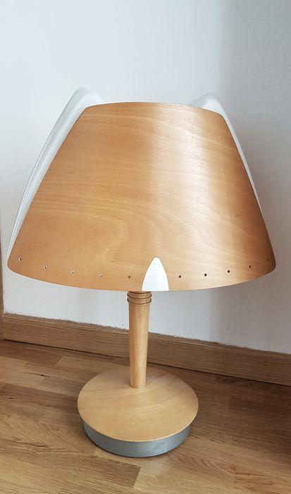 Lucid - Culot, Lámpara de mesa francesa, madera y plexiglas.
