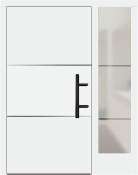 Holz Haustür Modell 70670 weiß mit Seitenteil rechts