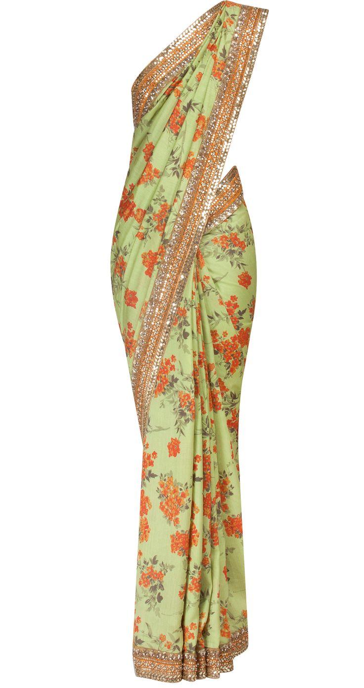 Pista green floral printed sari by SABYASACHI. Shop at https://www.perniaspopupshop.com/whats-new/sabyasachi-30