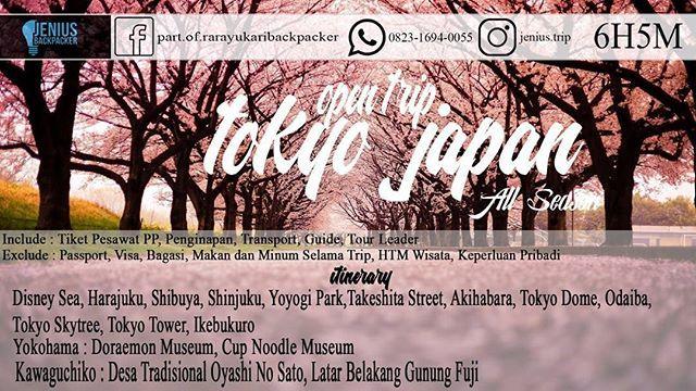 """Open BACKPACKER TOKYO JEPANG 6Hari 5Malam  PAKET TRIP INI BISA DICICIL TIAP BULAN  . . Jadwal Trip: - November 2017 - Mei 2018 - Juli 2018 - september 2018 . *Start Jakarta / Kuala Lumpur . info dan reservasi: 0857 7254 5869 . ~ AUTUMN  PROMO : IDR 9.500.000 NORMAL : IDR 10.500.000 . ~ WINTER ❄️☃️⛄️ PROMO : IDR 8.950.000 NORMAL : IDR 9.950.000 . ~ CHERRY BLOSSOM  PROMO : IDR 12.000.000 NORMAL : IDR 13.500.000 . ~ SUMMER ☀️☀️☀️☀️ PROMO : IDR 12.000.000 NORMAL : IDR 13.500.000 . *itinerary…"