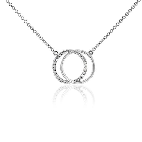 Celebrate life and love with this [ORO]3 Circles pendant. Entwined circles of gold and diamonds speak to the beauty of true love. This pendant would make a beautiful gift, and can be worn day or night. This 18ct gold pendant comes with an adjustable length chain.