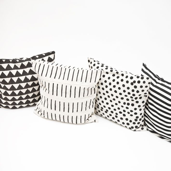 monochrome cushion in various patterns from some great products on their website cushions on sofathrow pillows bedblack and white