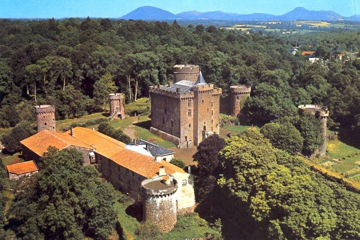 Chateau Dauphin near Pontgibaud in the Auvergne, the castle that served as the model for Sept-Tours (Matthew's home in 'A Discovery of Witches').  Aerial photograph by Ambroise Tardieu.