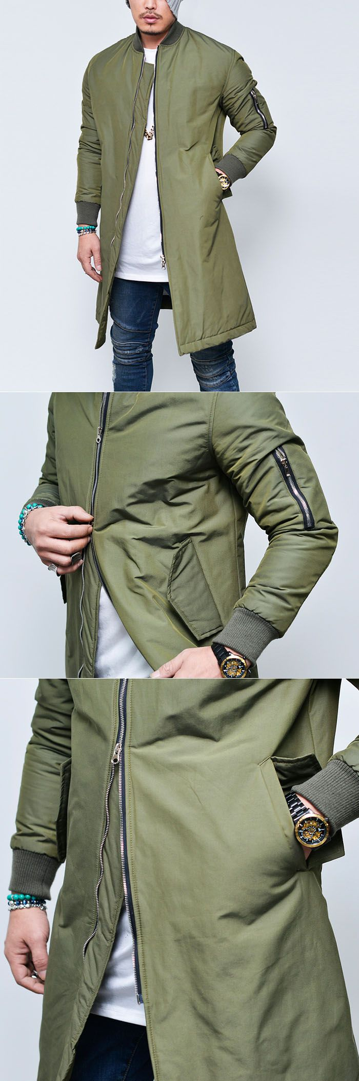 Outerwear :: Jackets :: Cargo Pocket Long Flight Bomber-Jacket 114 - Mens Fashion Clothing For An Attractive Guy Look