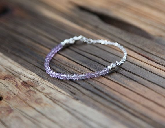 Beaded amethyst and sterling silver bracelet