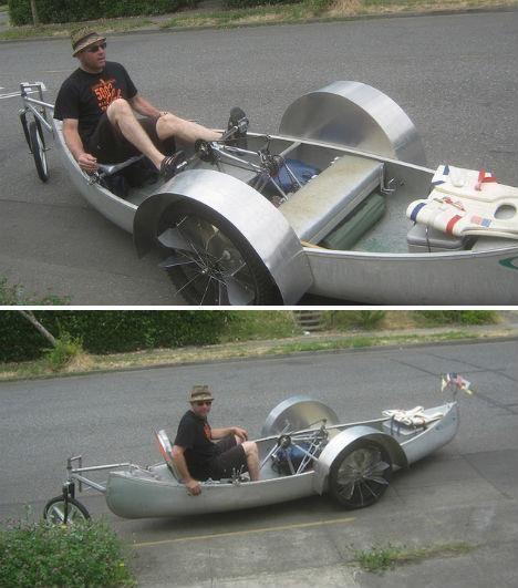 Recumbant trike-boat.