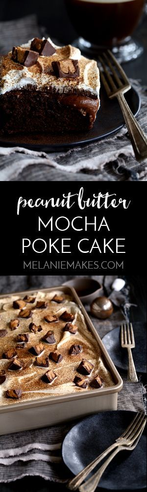 This Peanut Butter Mocha Poke cake is so decadent, so rich, and so incredibly easy! A mocha chocolate cake is flooded with peanut butter chocolate pudding before being topped with layers of mocha ganache, whipped topping and dark chocolate peanut butter cups before being dusted with espresso powder.