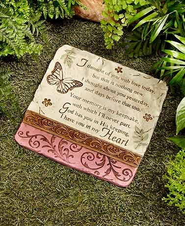 Set up a memorial in your garden for a lost loved one with this I Thought of You...Stone. It features a heartwarming sentiment with leaves, flowers, a butterfly and
