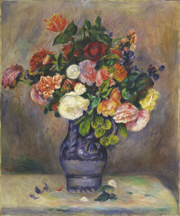Pierre-Auguste Renoir: Flowers in a Vase, c.1880. Oil on ...