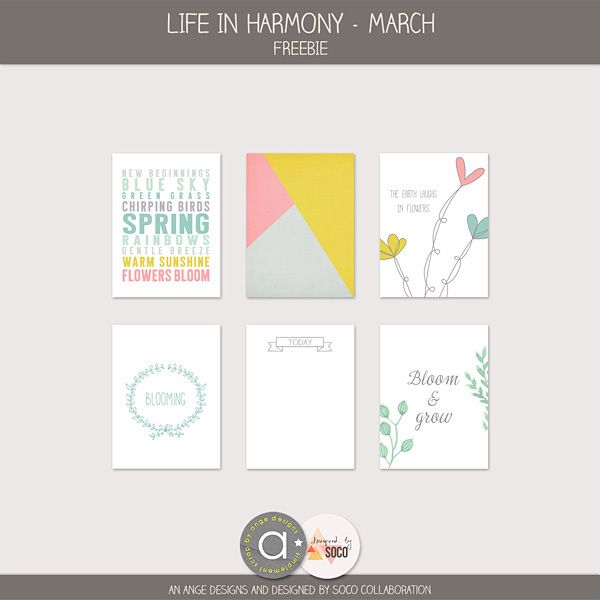 Life in harmony free Project Life Cards