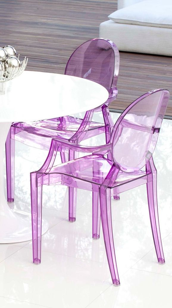 Purple Transparent Dining Chairs // Based On A Philipe Starck Design... LOVE