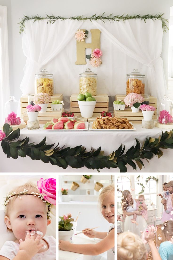 Best little girl party with food ideas, decor, and activities. Floral Birthday Party for Little Girl