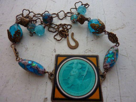 SAINT CHRISTOPHER antique French enamel medal vintage