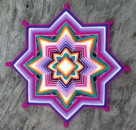 Purple Star of Clarity Mandala, Ojo de Dios 13 inches, Wall Hanging, Home Talisman, Bohemian wall art, Boho Home Decor
