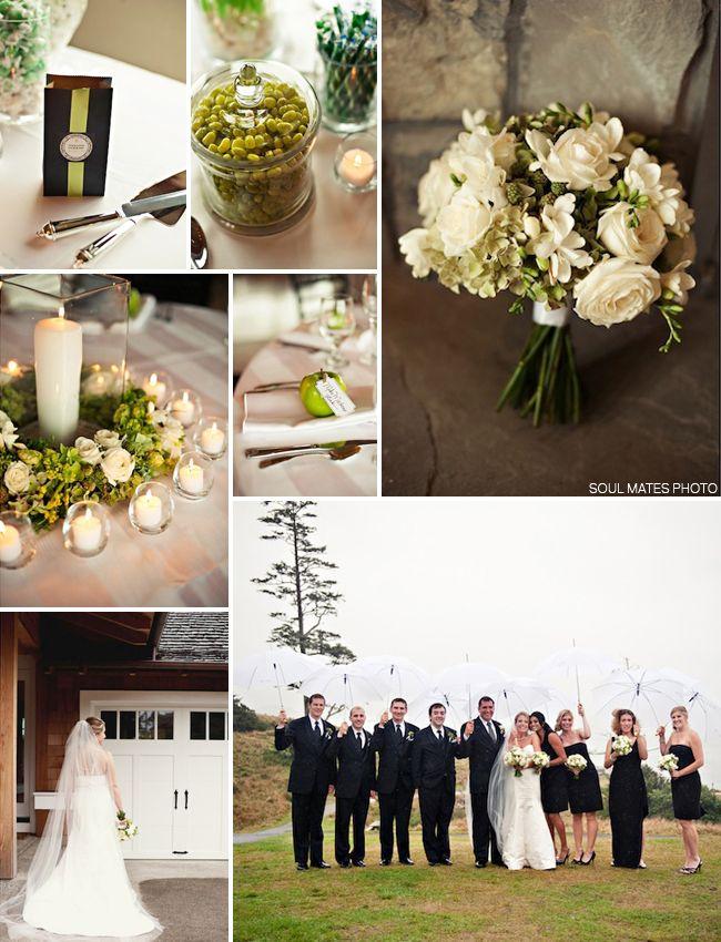 Oregon Coast Wedding Green Apples White Umbrellas Candle Light