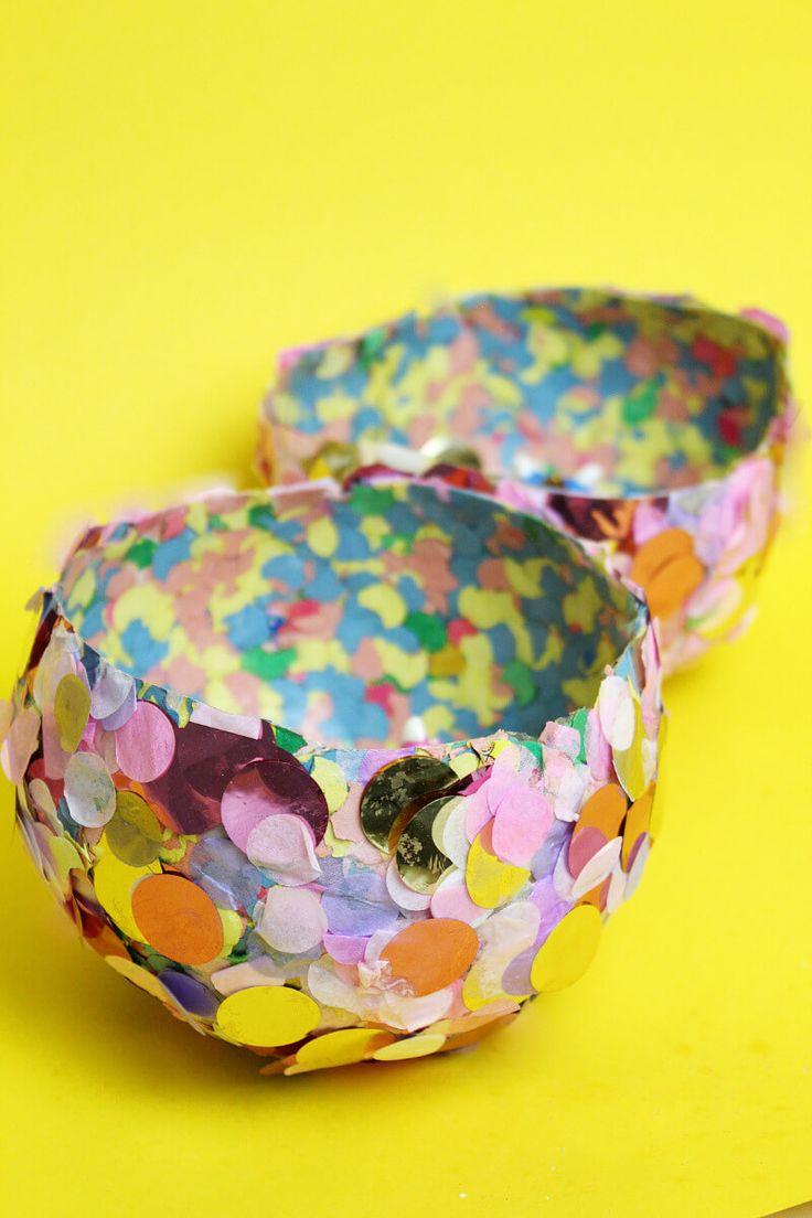 DIY Schalen aus Konfetti  selber machen und basteln: Einfache Bastellidee mit Kindern