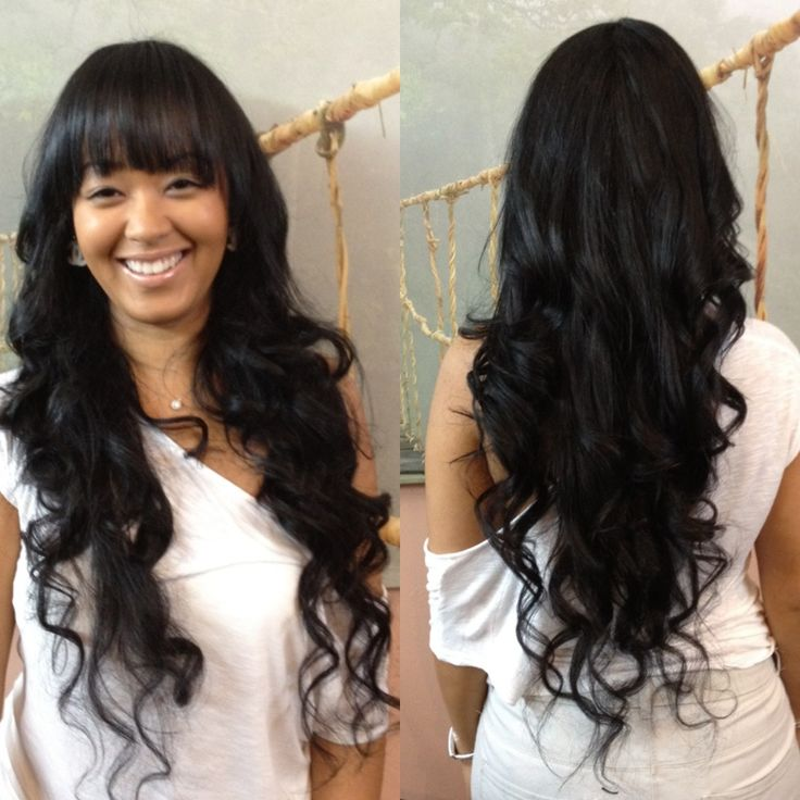 Wavy Hair With Bangs Weave Hair Color Ideas And Styles For 2018