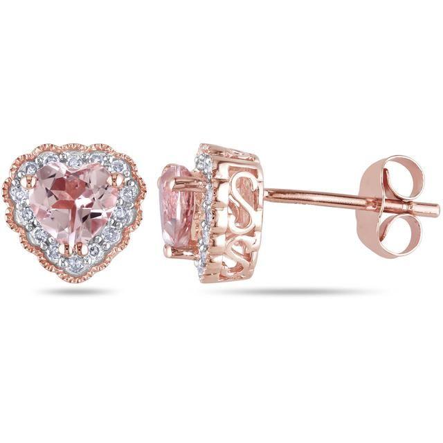 1/10 CT Diamond TW and 1 CT TGW Morganite 10K Pink Gold Ear Pin Earrings
