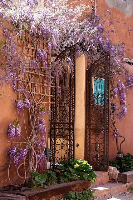 Entry, Isle of Crete, Greece: Wisteria, Gardens, Tuscany Italy, Wrought Iron, Places, Iron Doors, Crete Greece, Entryway, Iron Gates