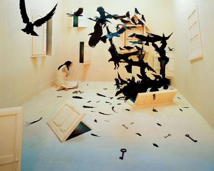Korean artist Jee Young Lee. I love this one. She thinks she is trapped but doors are open and keys are strewn across the floor with the raven feathers. - k