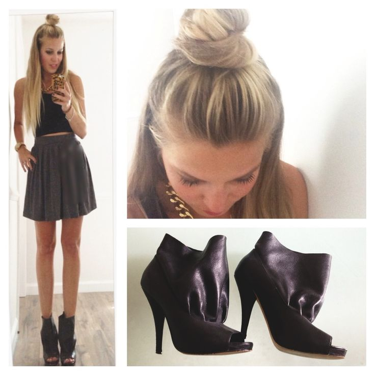Mandy Odle // half top knot, crop top, open toe booties
