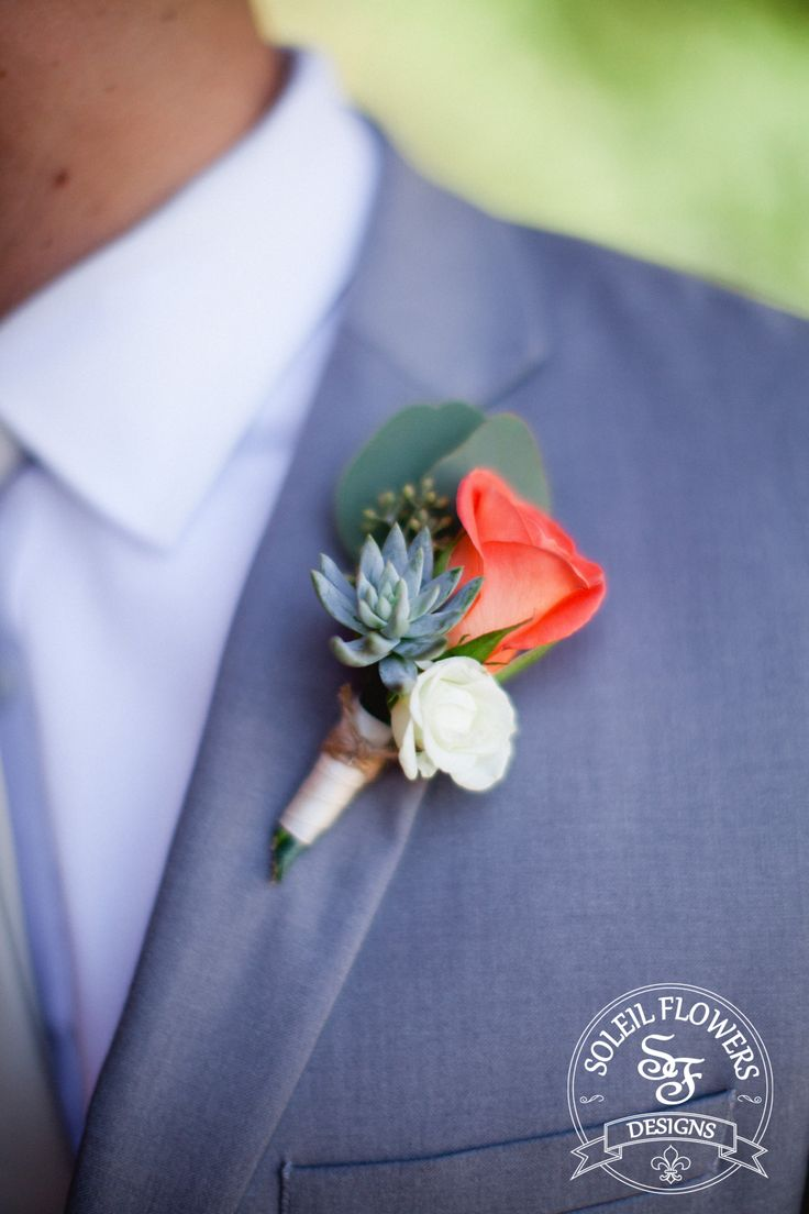 Coral & Succulent Boutonniere. Shauntelle Sposto Photography, Soleil Flowers Designs.