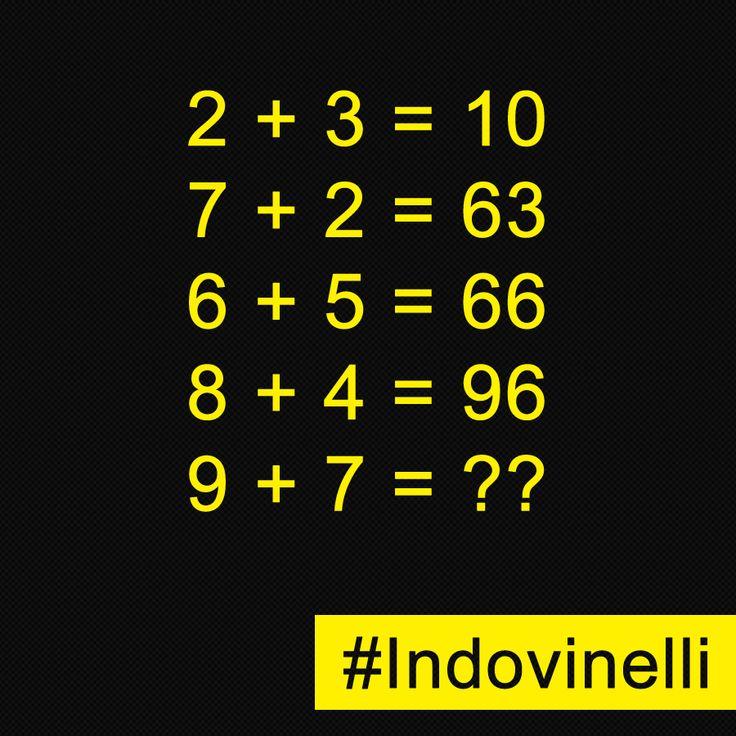"""Commenta se sai la soluzione!?!? """"Pin It"""" e metti alla prova i tuoi amici. #indovinelli #giochi #enigmi"""