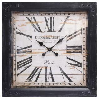 Kasten Wanduhr XL Square Clock Holzrahmen Vintage Retro Uhr groß römische Zahlen