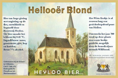 Heilooër Blond is het eerste Heyloo Bier. Het is een lichtvoetig smakend goudblond bier waar je je in zou kunnen vergissen, want het heeft 7% alcohol! Het is op natuurlijke wijze gebrouwen met behulp van water, gist, diverse mout- en hopsoorten, kandijsuiker en kruiden zoals koriander en karwij. Bijzonder is de toevoeging van bloesem van de lindes rond het Witte Kerkje en hop uit Heiloo.  Een bier met frisse, fruitige en kruidige tonen, waarbij je op bepaalde momenten een bittertje proeft…