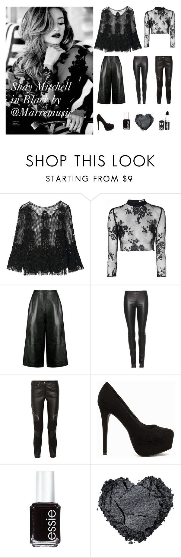"""Shay Mitchell in Black by @Marremusic"" by marremusic on Polyvore featuring Glamorous, Whistles, The Row, Givenchy, Nly Shoes and Essie"