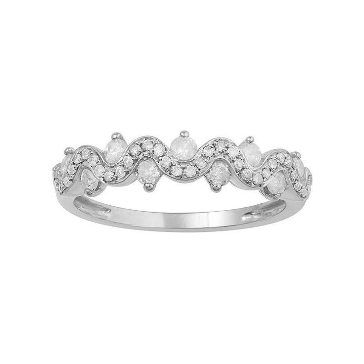 10k White Gold 1/2 Carat T.W. Diamond Twist Ring, Women's, Size: