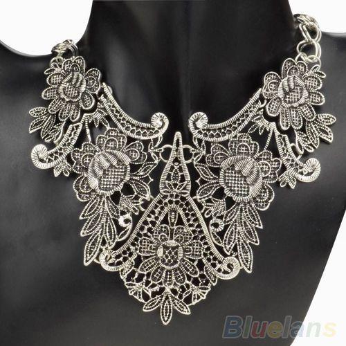 Bohemian Silver Gold Hollow Carved Flower Pattern Bib Collar Pendant Necklace #Phoenix1900US #Collar