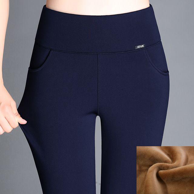 Discounts $21.50, Buy Large size 6XL 2017 Winter Women Pants Warm Plus Thick Velvet Pants Slim High Waist Stretch Pencil Pants Female Trousers