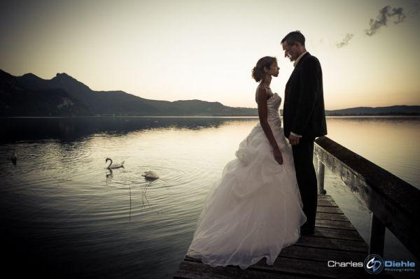 Hochzeitsfotografie am Kochelsee bei Sonnenuntergang