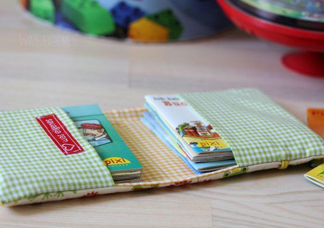 Fotoanleitung zum Selbermachen: eine Minibuch Stoffhülle für 10 Pixibücher...