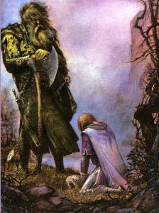 "J.R.R. Tolkien, trans. and ed., ""SIr Gawain and the Green Knight, Pearl, Sir Orfeo"" (art by Julek Heller)"