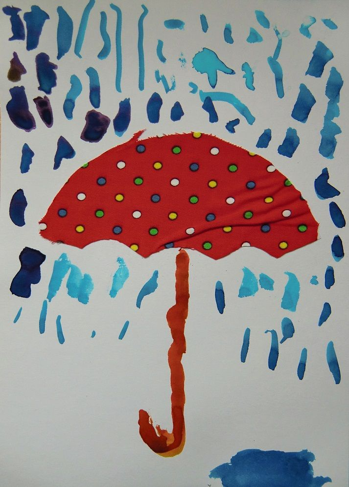Barevné deštníky - kombinovaná technika