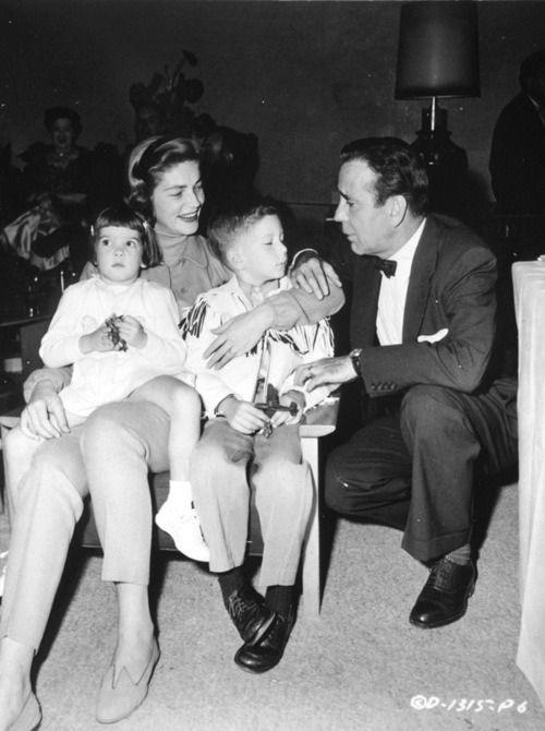 Lauren Bacall, Humphrey Bogart and their children, Stephen and Leslie (named after Leslie Howard)