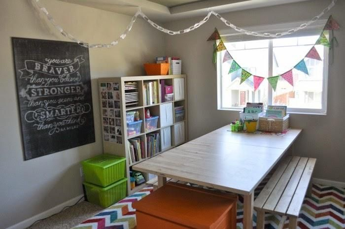 Home school room makeover! #TheMamaGretchen #MohawkHome #MixedChevron #IloveMyMohawkRug